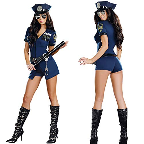 Polizisten Frauen Kostüm - Schwarze Frauen Sexy Polizist Cosplay Kostüm Halloween Polizistin Cosplay Body Kostüm Uniform Mit Handschellen,Blue,M