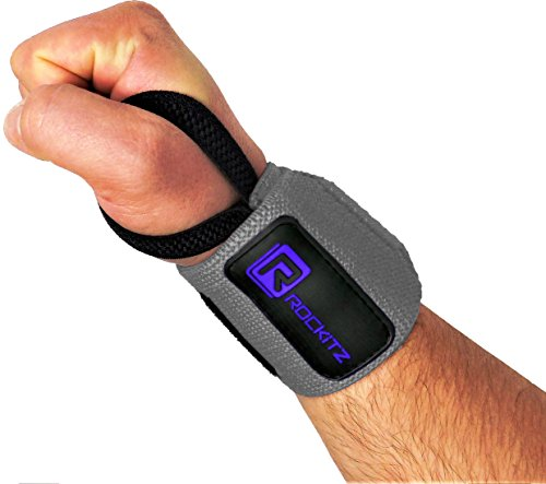Original ROCKITZ Handgelenkbandagen, Fitness und Bodybuilding Bandage, CrossFit & Kraftsport, Lifting Wrist Wraps / Bandagen [2er Set] (Grau | Blau)