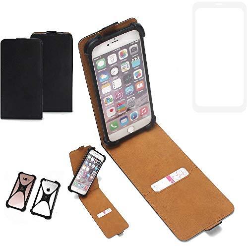 K-S-Trade Flipstyle Hülle für Vestel V3 5580 Dual-SIM Handyhülle Schutzhülle Tasche Handytasche Case Schutz Hülle + integrierter Bumper Kameraschutz, schwarz (1x)