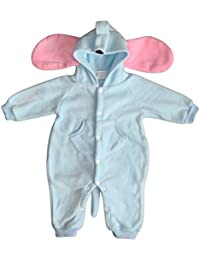 BOMIO Unisex Overall | Kuscheliger Baby-Anzug | Fleece-Overall mit Kapuze | wärmender Winter-Strampler für Babys und Kleinkinder | niedliche Tierdesigns