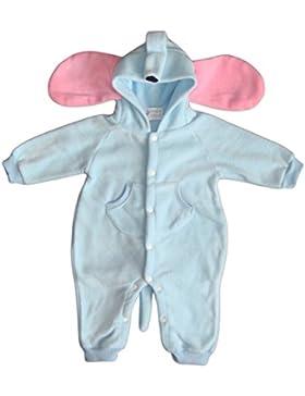BOMIO Unisex Overall | Kuscheliger Baby-Anzug | Fleece-Overall mit Kapuze | wärmender Winter-Strampler für Babys...