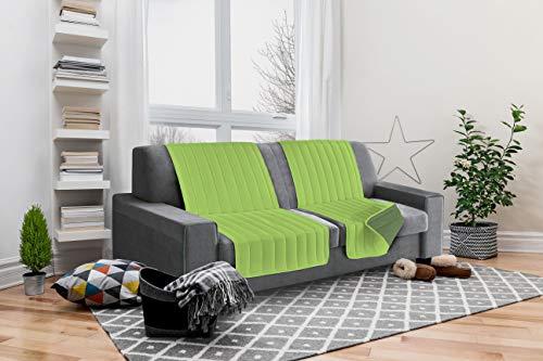 Italian bed linen seduta fascia copridivano, microfibra, mela/verde scuro, 190x60x6 cm