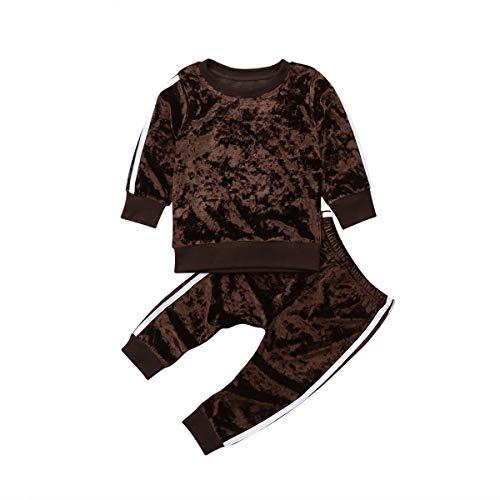 Binwwe Bekleidung Kinder Baby Mädchen Jogginganzug Trainingsanzug mit Velvet Sweatshirts Pullover + Lang Hosen Kleider Set Kindermode Sportanzug(5-6Jahre) (Braun, 5-6 Jahre) (Baby Mädchen Velvet-kleid Für)