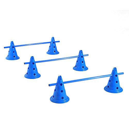 PawHut Hürden 3er Set 3X Hürdenstangen 6X Kegelhürden Hunde Training Hürden Blau