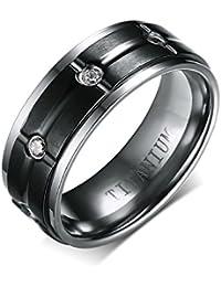 Vnox Titanio 18K Negro plateado cúbicos Zirconia anillo de la banda de diamantes para los hombres de boda regalo de compromiso