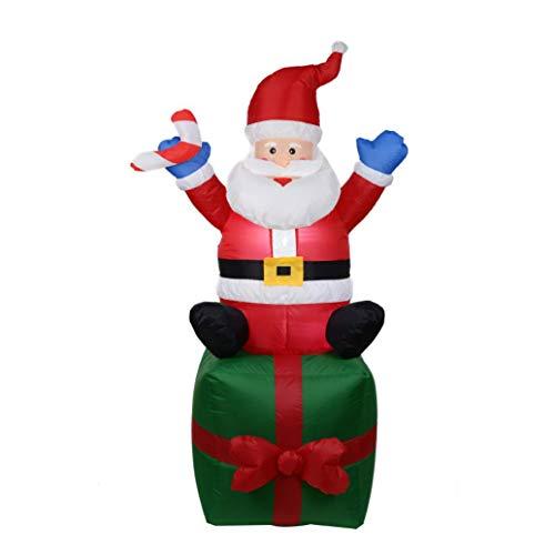 ZYX Selbst Aufblasende Aufblasbare Weihnachtsmann Mit Einem Geschenk LED Sprengen Weihnachten Indoor-Und Outdoor Einfach Zu Bedienen Große Dekorationen 1,8 M