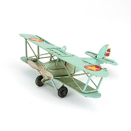 hugs-more-modelo-de-avion-biplano-de-metal-antiguo-hecho-a-mano-color-azul