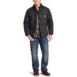 Carhart Workwear Sandstone - Chaqueta de trabajo (100% algodón, 6 bolsillos), negro, C26