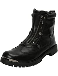 Black Biker Boots With Metal Plate On Toe For Men By Bareskin