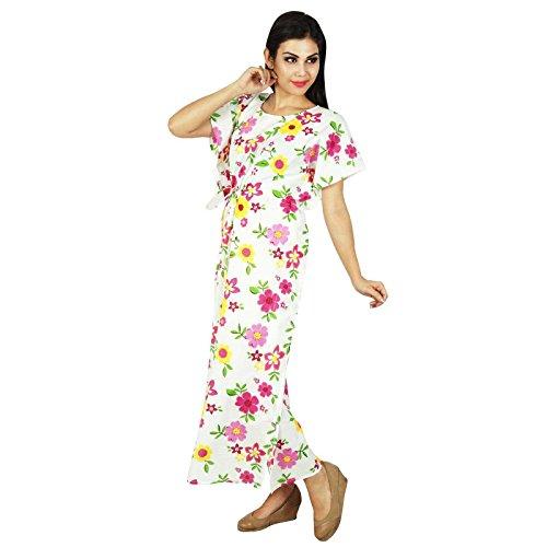 Phagun Kaftan Frauen Kleidung Gedruckt Maxi Nachtzeug Lange Baumwolle Bohemien Kaftan Weiß und Gelb