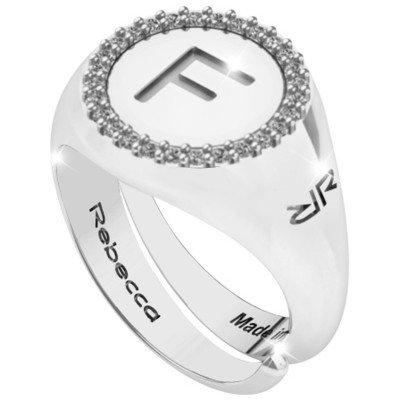 Anello donna con lettera iniziale f swrazf56 - rebecca gioielli