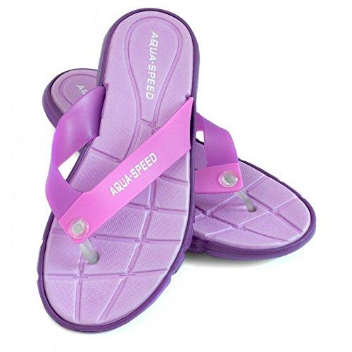Aqua-Speed Palmes® Bali Plage Sandales (femmes Tongs anti-skid-pattern piscine plage jardin vacances + jusqu'® -lanyard) violet - violet