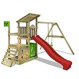 FATMOOSE Spielturm Klettergerüst FruityForest Fun XXL mit Einzel-Schaukel & roter Rutsche,...