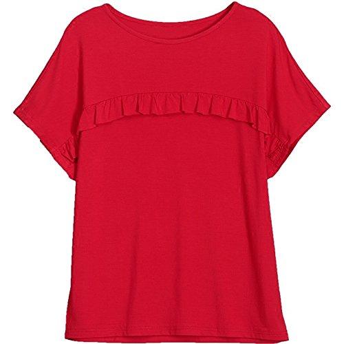 MoMo T-shirt à manches courtes en coton T-shirt volanté à manches longues en été T-shirt à manches chauve-souris couleur unie,rouge