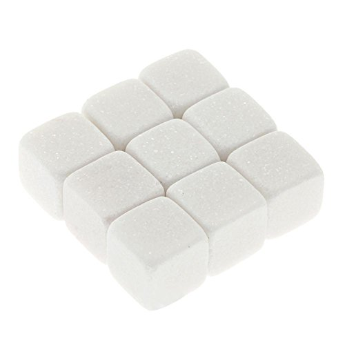 Anna-neek 1 Satz von 9 Stücken Whisky Steine Set Geschwindigkeit eingefroren Eiswürfel Wiederverwendbar Lebensmittelecht Kühlsteine Kühlwürfel Bar Accessoires