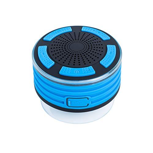 Haut-Parleur Bluetooth étanche IPX7 Enceinte de Douche sans Fil Speaker, Son HD, Ventouse, lumière LED, Micro intégré, kit Mains Libres pour Piscine, Cuisine et Maison 10x10x10cm Bleu