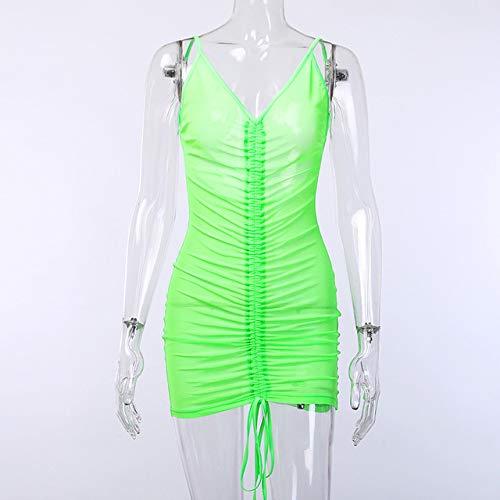 CHZDXGNY Mode Spaghettiträger Sexy Backless Tiefem V-Ausschnitt Kleid Sommer Strand Mesh Geraffte Kordelzug Neonkleider S Neongrün (Mesh-kleid Geraffte)