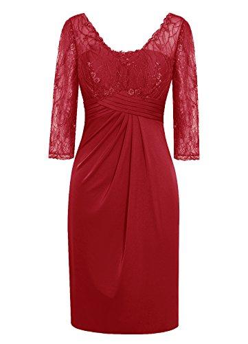 Dresstells, Robe courte de demoiselle d'honneur Robe de mère de mariée Tenue de mariage dentelle longueur genou Rose