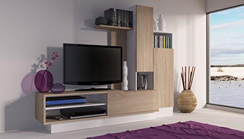 Trasman 8088 Wohnwand, melaminharzbeschichtete Holzspanplatte, eiche und weiß, 200 x 40 x 163 cm - 3