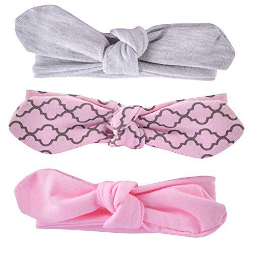 COUXILY 3 Stück Baby Mädchen Stirnband 100% Baumwolle Haarband mit Bogen für 0-24 Monaten (B05) 100 Bögen