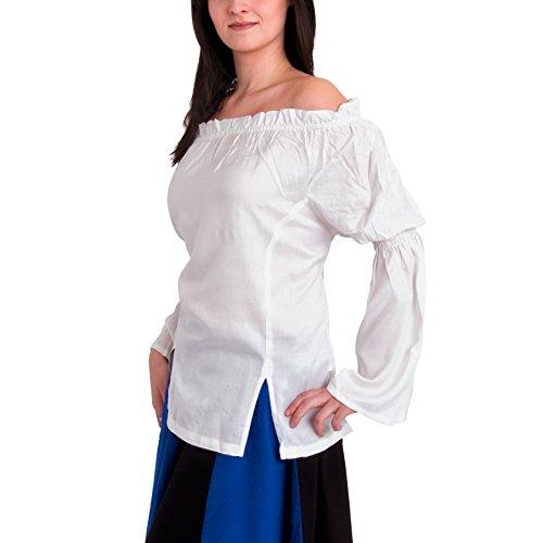 Battle-Merchant Lange mittelalterliche Bluse, weiß Größe L/XL (Männlichen Larp Kostüm)