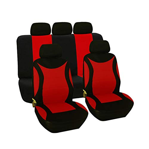 GODGETS Coprisedili Auto Universali Set Completo Copertura Protezione Anteriore e Posteriore Sedili per Auto in Poliestere Tessuto,Nero Rosso,2 * Seater Anteriore + 3 * Seater Posterio