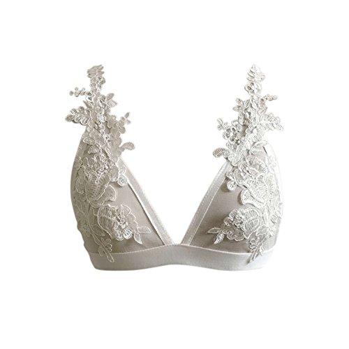 iBaste Soutien-gorge Femme Floral Dentelle Bralette Bralet Bustier Sheer Triangle Lingerie Blanc