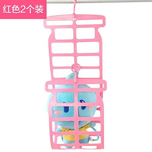 u-icordarsi double-hook von Kissen und Clip pillow-mounting Balkon Puppen Aufhängen und Falten Kleidung für Montage auf rack-Kissen Zahnstange 2, Pink (Puppen-schrank Kleiderbügel)