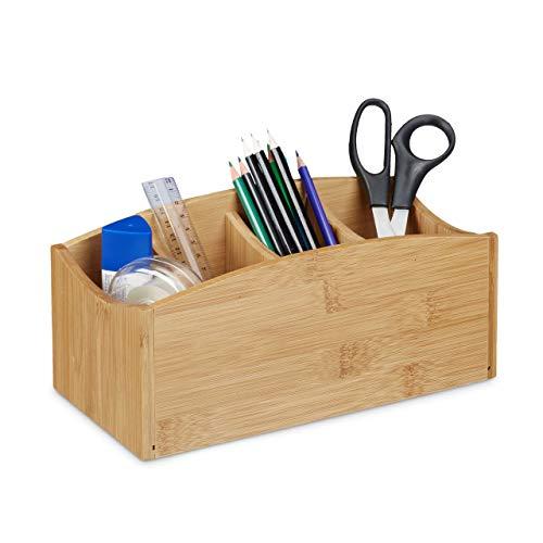Relaxdays Schreibtischorganizer aus Bambus, Stifteköcher mit 4 Fächern, natürliche Maserung, HBT: ca. 11,5 x 26 x 13 cm, natur