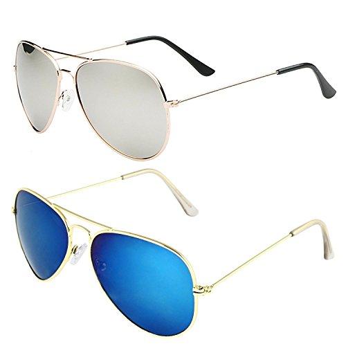 Sheomy Aviator Unisex Sunglasses Combo (Sun-0107 55 Silver)