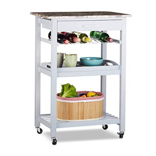 Relaxdays Küchenwagen mit Tablett, Schublade, Flaschenhalter, Ablage, Steinoptik, Kiefernholz,...
