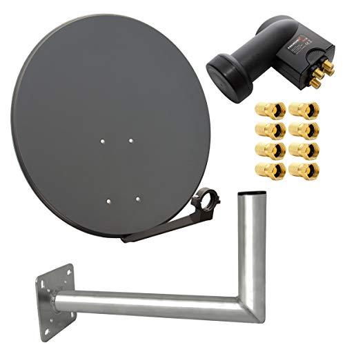 PremiumX digital SAT Anlage 80 cm Stahl Schüssel Spiegel Antenne Anthrazit Quad LNB PXQS-SE 0,1dB für 4 Teilnehmer Wandhalter 45cm ALU TÜV Geprüft F-Stecker