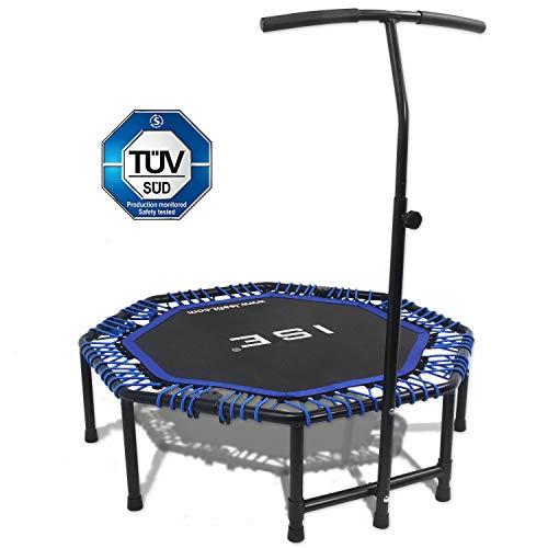 ISE Trampolín de fitness, trampolín interior plegable con asa ajustable en altura, entrenamiento de resistencia para adultos y niños, aprobado por TÜV, peso de usuario de hasta 120 kg, TGB-BL
