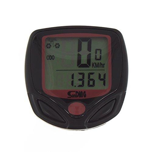 Smartfox Digitaler LCD Fahrradcomputer Tacho Kilometerzähler Geschwindigkeitsmesser mit 9 Funktionen in schwarz