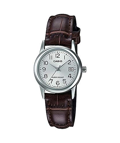 Casio #LTP-V002L-7B2 Women's Standard Analog Leather Band Silver Numbers Dial Date Watch
