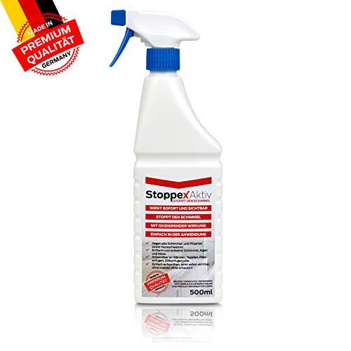 Stoppex® Aktiv-Professioneller Schimmelentferner gegen Schimmel, Stockflecken u. Schimmelpilz I Chlorhaltiger Anti Schimmelspray für die Wand, Bad und Silikonfugen