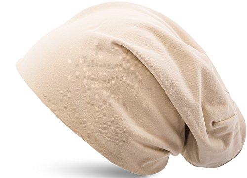 Jersey Baumwolle elastisches Long Slouch Beanie Unisex Mütze Heather in 35 verschiedenen Farben (3) (Heather Sand) (Erwachsenen-kind-beanies)