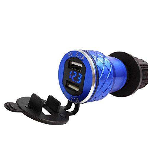 Wokee 4.2A Aluminium Motorrad Dual USB Ladegerät Port USB Ladegerät Desktop Ladegerät Ladestation DIN Buchse Voltmeter für Motorrad Dual USB Ladegerät Buchse, wasserdicht Marine USB Steckdose (Blau)