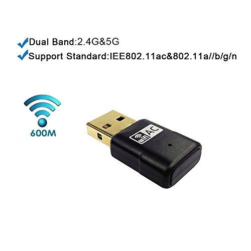 Zoweetek® Mini Adaptador USB inalámbrico Dual Band AC600 WIFI 2.4GHz 150Mbps o 5Ghz 433Mbps compatible con Windows XP/7/8/8.1/Mac X
