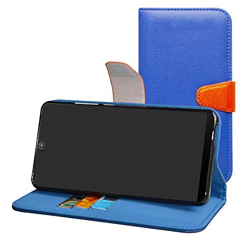 Labanema Wiko View Max Hülle Case,Lederhülle PU Leder Flip Tasche Handy Schutzhülle Handyhülle mit [Ständer Funktion] Card Holder Kunstleder Cover für Wiko View Max-Blau