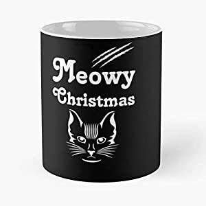 Cat Pun Greeting Cards - Meowy Christmas Classic Mug -11 Oz Coffee Funny Sophisticated Design Great Gifts White-situen.