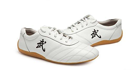 Jinji, Unisex-Schuhe für Erwachsene, für Tai-Chi, Wu Shu, Kung-Fu, Basisschuhe für tägliches Training, morgendliche Übungen, Weiß - weiß - Größe: 43 EU (Tiger Claw Fu Kung)