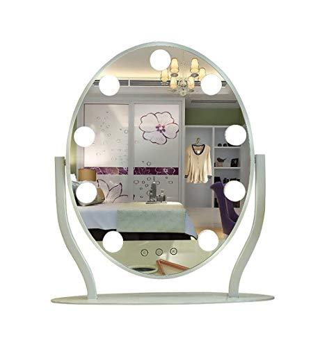 ZHJYD Espejo de Maquillaje, Espejo de vanidad portátil Creativo con Bulbo, lámpara Profesional de Maquillaje de Alta definición, Espejo for autorretrato.