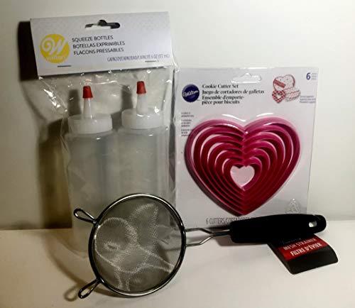 Valentinstag Ausstechformen und Dekorationspaket für Kekse in Herzform, 2 Wilton Squeeze Schreibflaschen, 1 Zuckersieb, 3 Stück