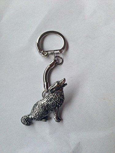 Preisvergleich Produktbild C18Wolf aus feinem englischen Zinn auf eine Schlange Schlüsselanhänger handgefertigt mit prideindetails Geschenk verpackt handgefertigt in Sheffield