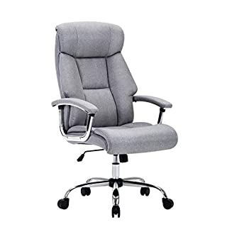Amoiu Fabric Ergonomic Office Executive Chair, Extra Padded High Back Tilt Reclining Faux Leather Desk Computer Chair with Arms (Fabric Cover)