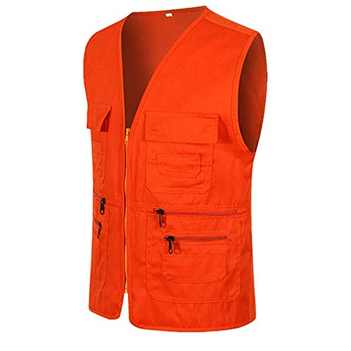 UJUNAOR Männer Ärmellose Cargo Jacke Multi-Pocket-Jackenmantel für Herren(Orange,CN XL)