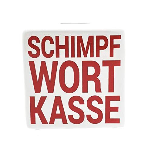 MC Trend Spardose Würfel aus Keramik mit witzigem Spruch Schimpfwort Kasse Sparbüchse Geld-Geschenk (Weiß - Schimpf Wort Kasse)