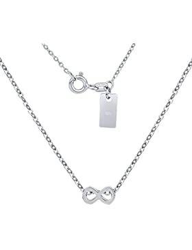 Halskette aus Silber mit Anhänger INFINITY Unendlichkeit 925 Sterling Silber rhodiniert