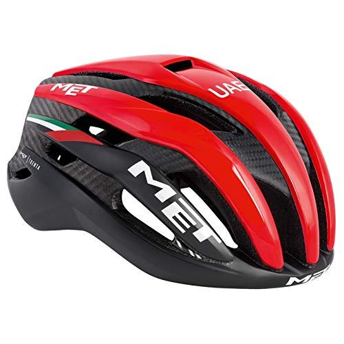MET Trenta 3K Carbon Rennrad Fahrrad Helm Triathlon Belüftet Radhelm Inmould Reflektierend, 570019, Farbe Schwarz Rot, Größe L